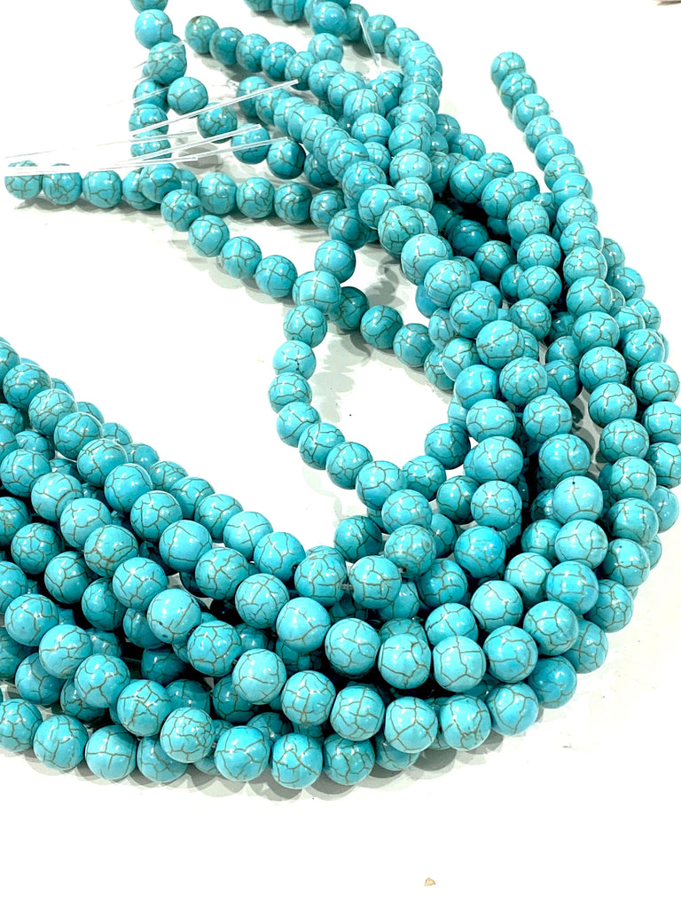 Turquoise Howlite Beads Natural  Turquoise Howlite  10mm gemstone Beads, Gemstone Beads 39 beads per strand