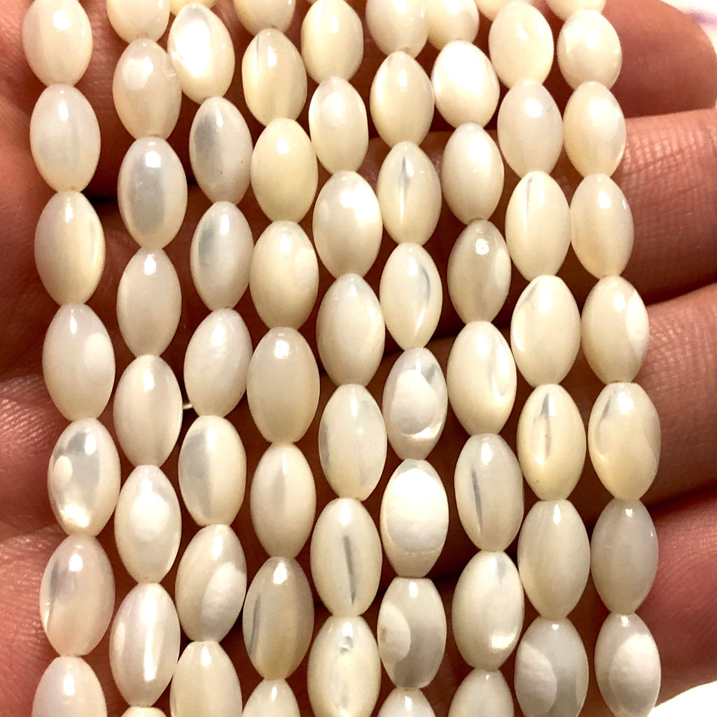 Mother of Pearl 8.8x5mm Rice Beads, 45 Beads per strand