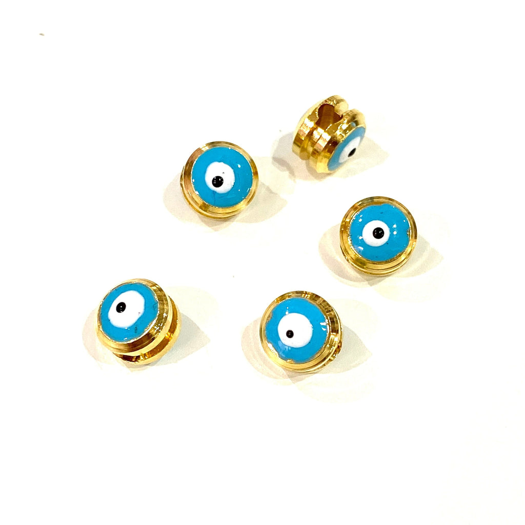 NEW!! 7mm 24K Gold Plated Evil Eye Beads, 7mm 24K Gold Plated Evil Eye Spacers, 5 Pcs in a Pack