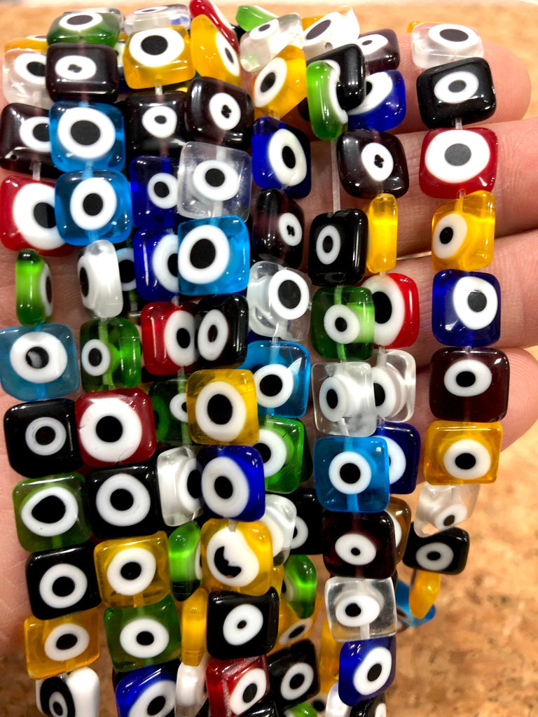 Evil Eye Beads, Strand of 38, Square Flat Glass, 10mm Glass Beads,  Evil Eye Jewelry, Lampwork Beads, UK Beading Suppl