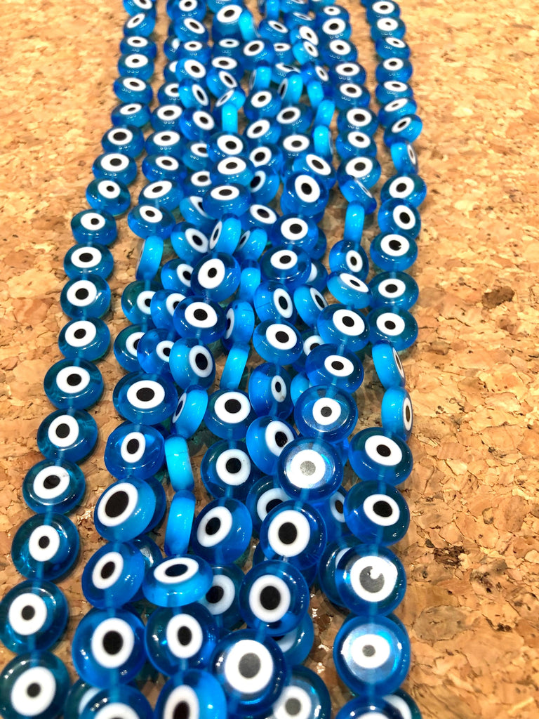 Evil Eye Beads, Strand of 32, Flat Round, 12mm Glass Beads, Lampwork Glass, Evil Eye Jewelry, Lampwork Beads, UK Beading Supply