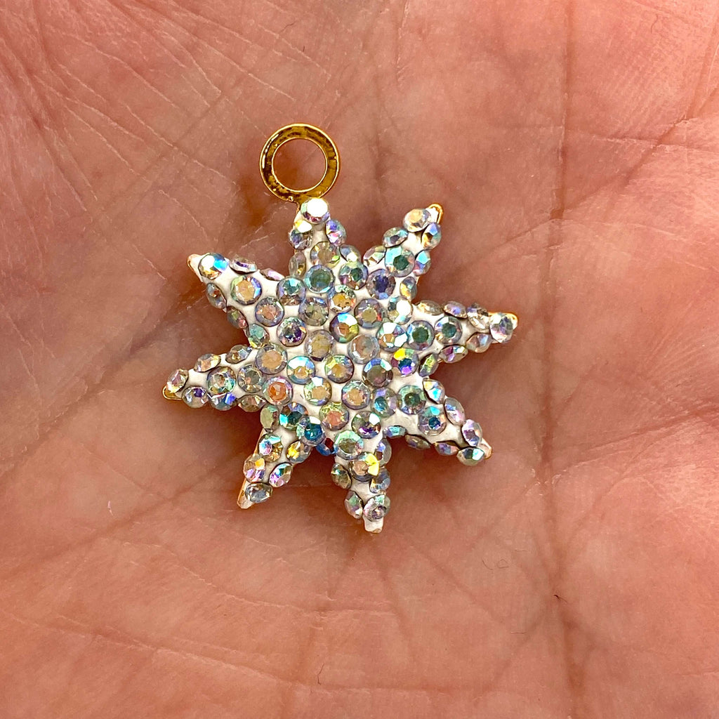 24Kt Gold Plated Swarovski Pave Brass Star Pendant