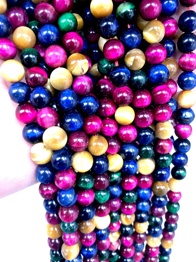 Tiger eye 8 mm round beads , Multi color full strand 48 beads