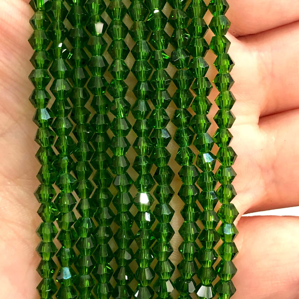4mm Crystal faceted bicone - 115 pcs -4 mm - full strand - PBC4B49,Crystal Bicone Beads, Crystal Beads, glass beads, beads