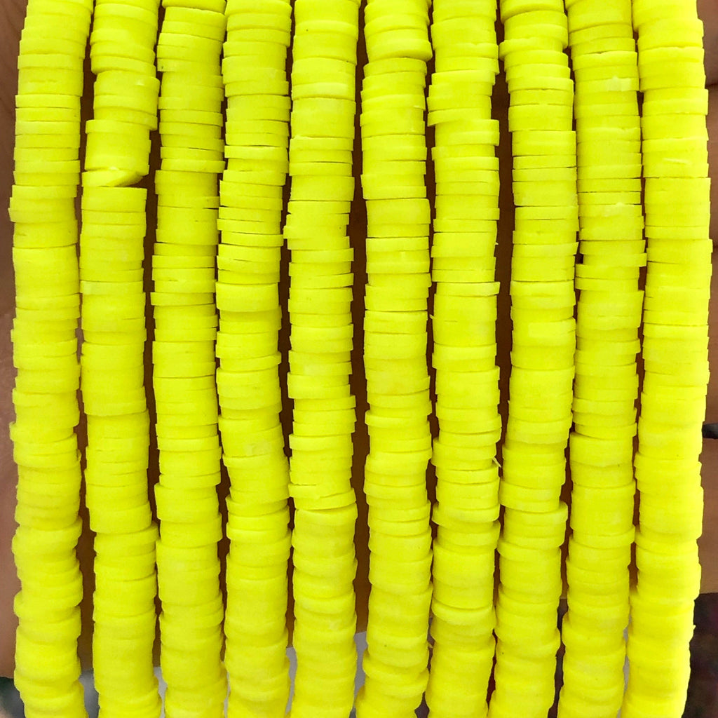 Neon Yellow Beads, Polymer clay 6x1MM Vinyl Beads