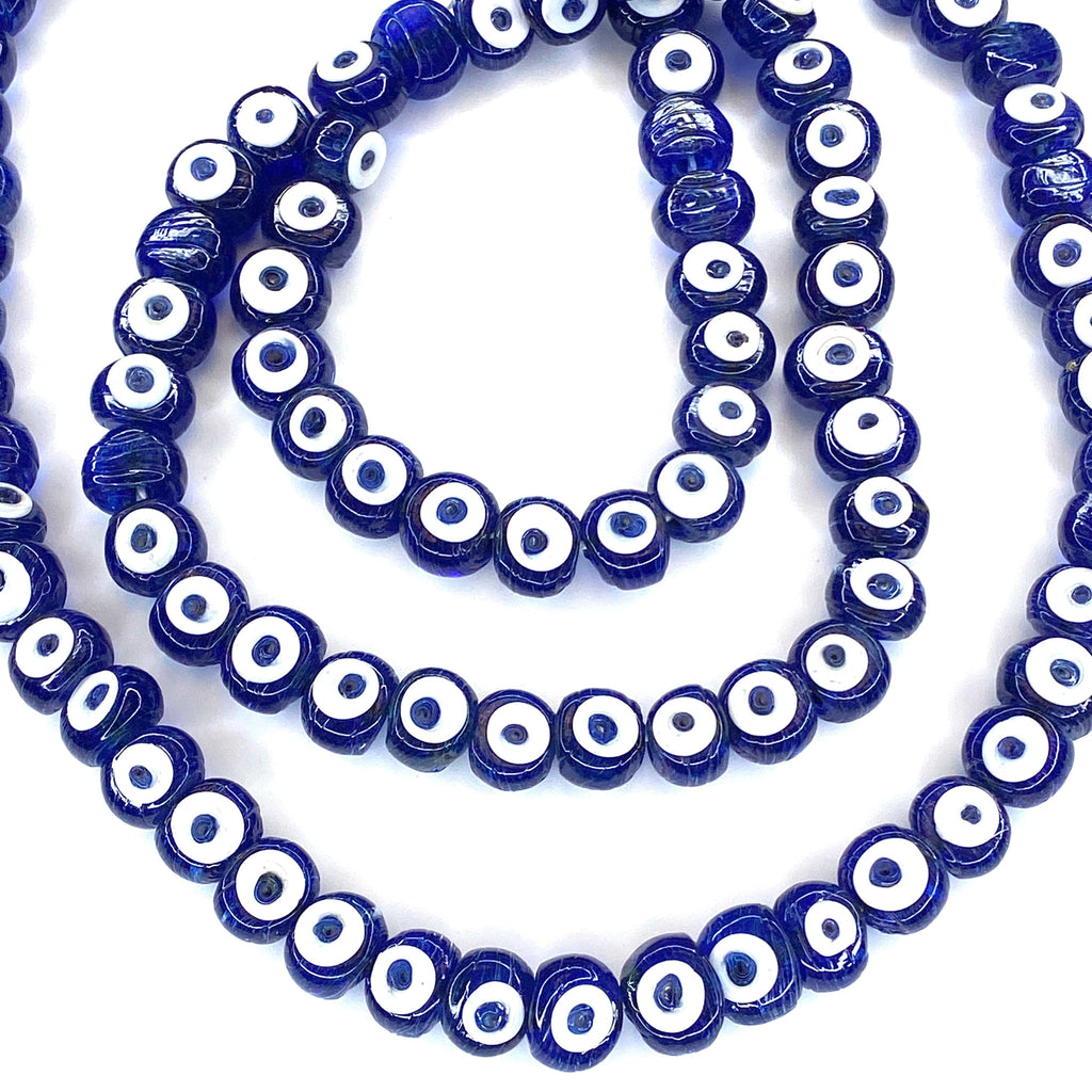 Hand Made Murano Glass Evil Eye Beads, Large Hole Evil Eye Glass Beads, 5 Beads per pack