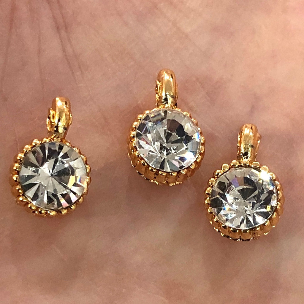 Cubic Zirconia CZ, Gold Plated Charms, 3 Pcs in a pack