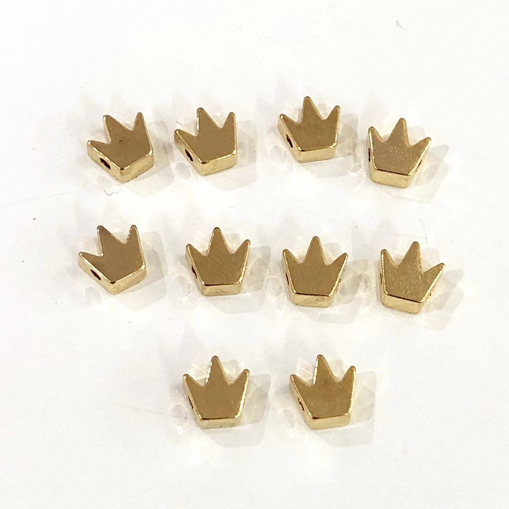 Gold Spacer Balls, Gold Spacer Beads, 5x6 mm Crown  Gold Plated- Spacer Beads-10 Pieces in a pack, Jewellery Findings