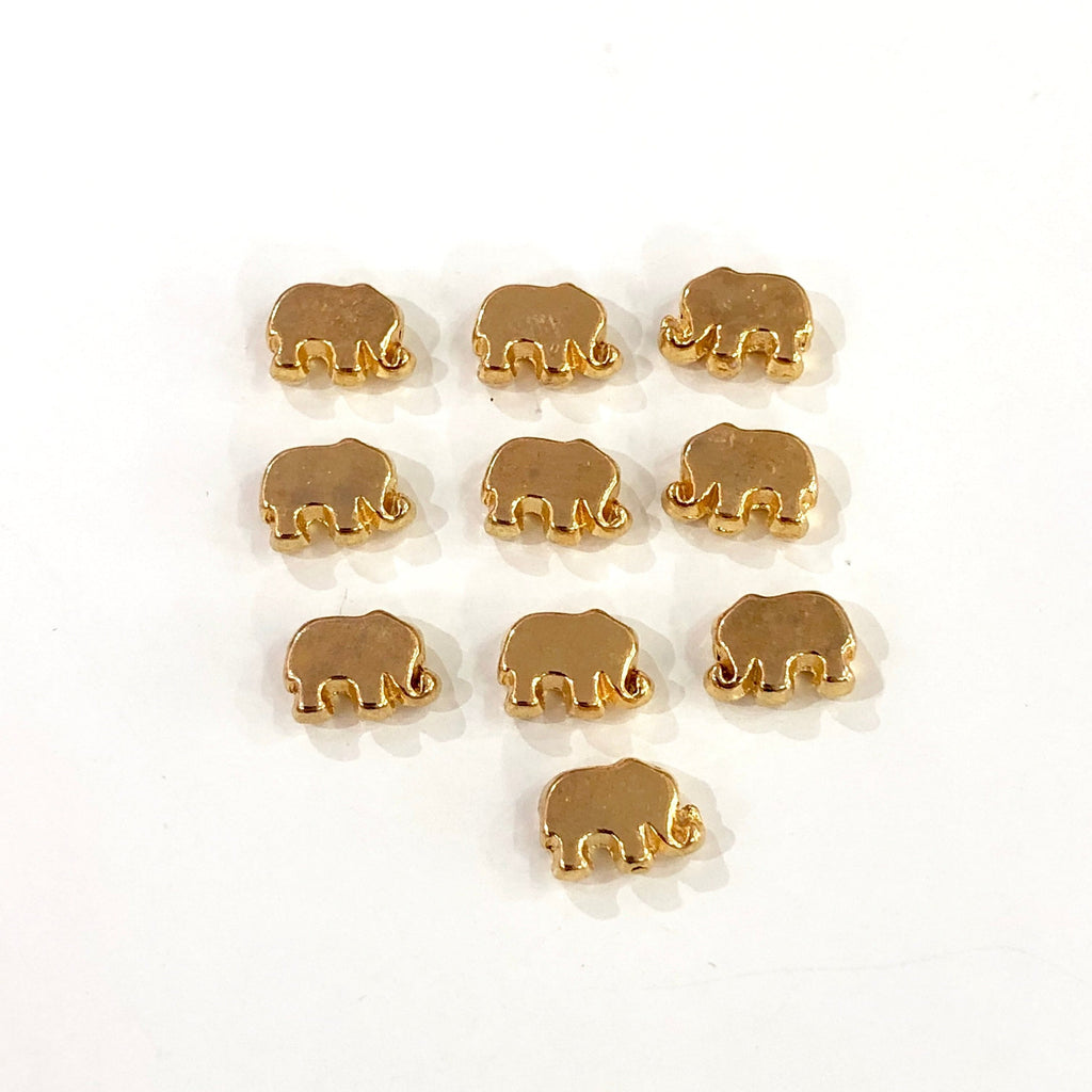 Gold Spacer Balls, Gold Spacer Beads, 8x6 mm Elephant  Gold Plated- Spacer Beads-10 Pieces in a pack, Jewellery Findings