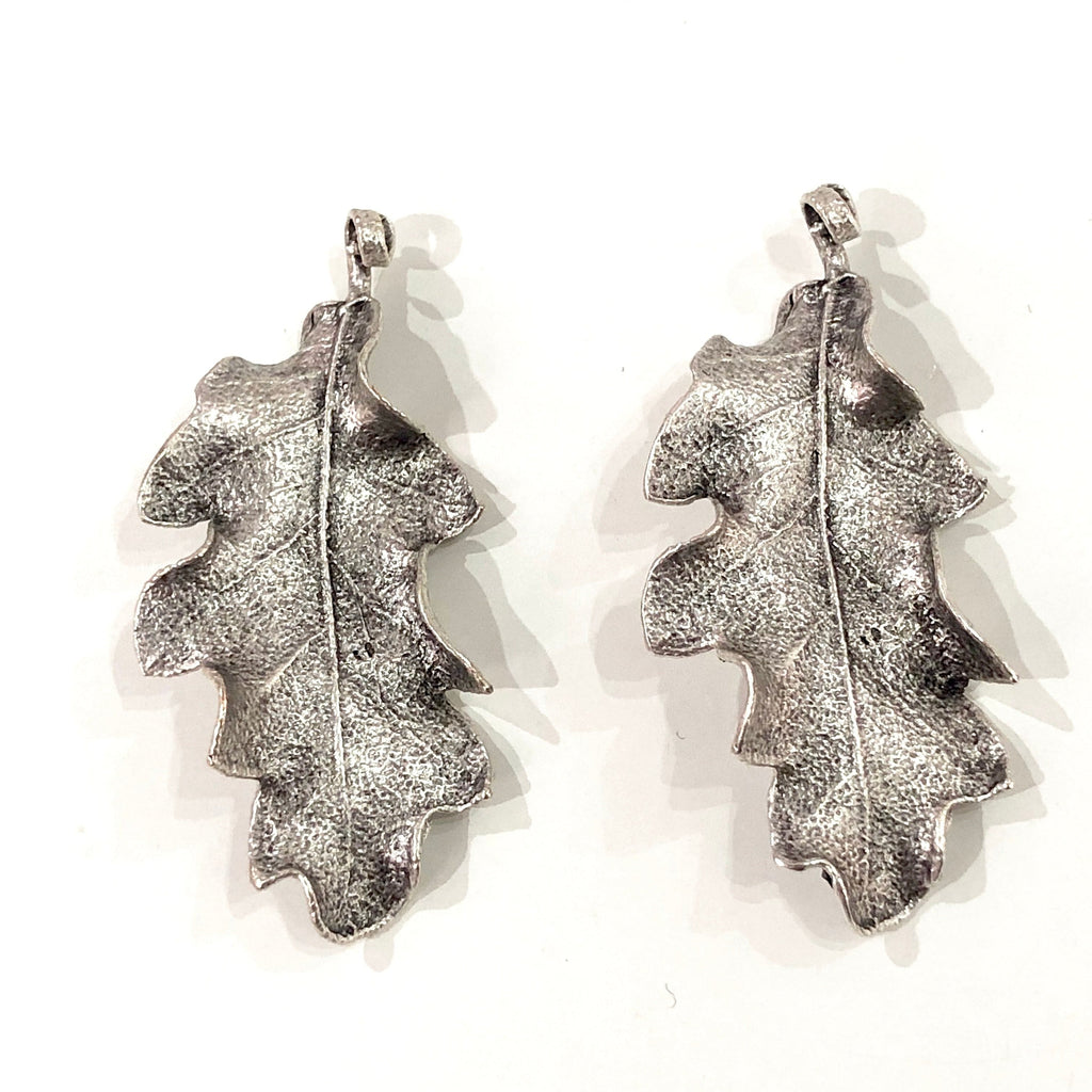 Silver Plated Leaf Pendants, 2 in a pack