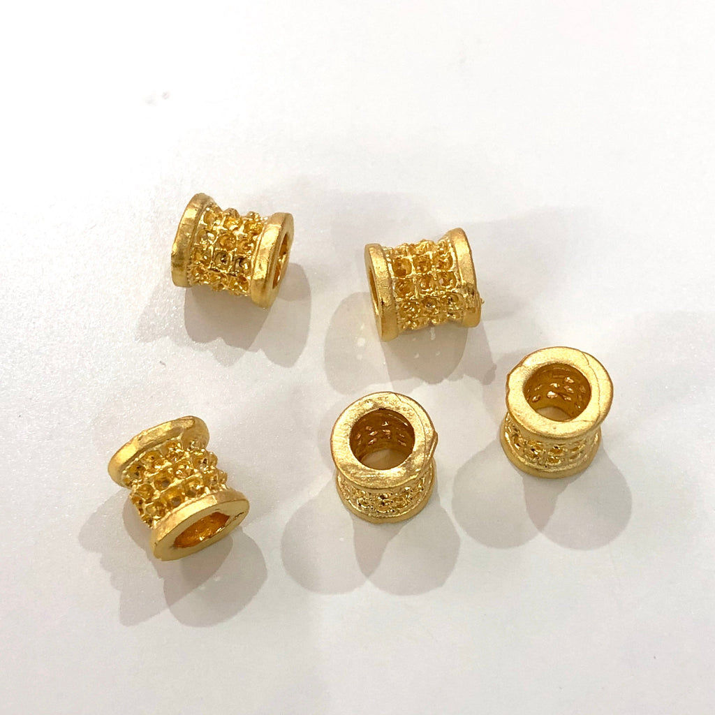 8mm Gold Spacer Tubes, 22Kt Gold Plated Brass Spacer Tubes 8mm, 5pcs in a pack