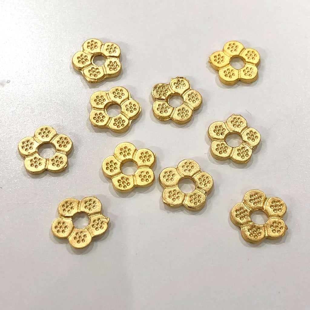10 pcs Gold Plated Flower Charms, 22Kt Gold Plated Flower Charms