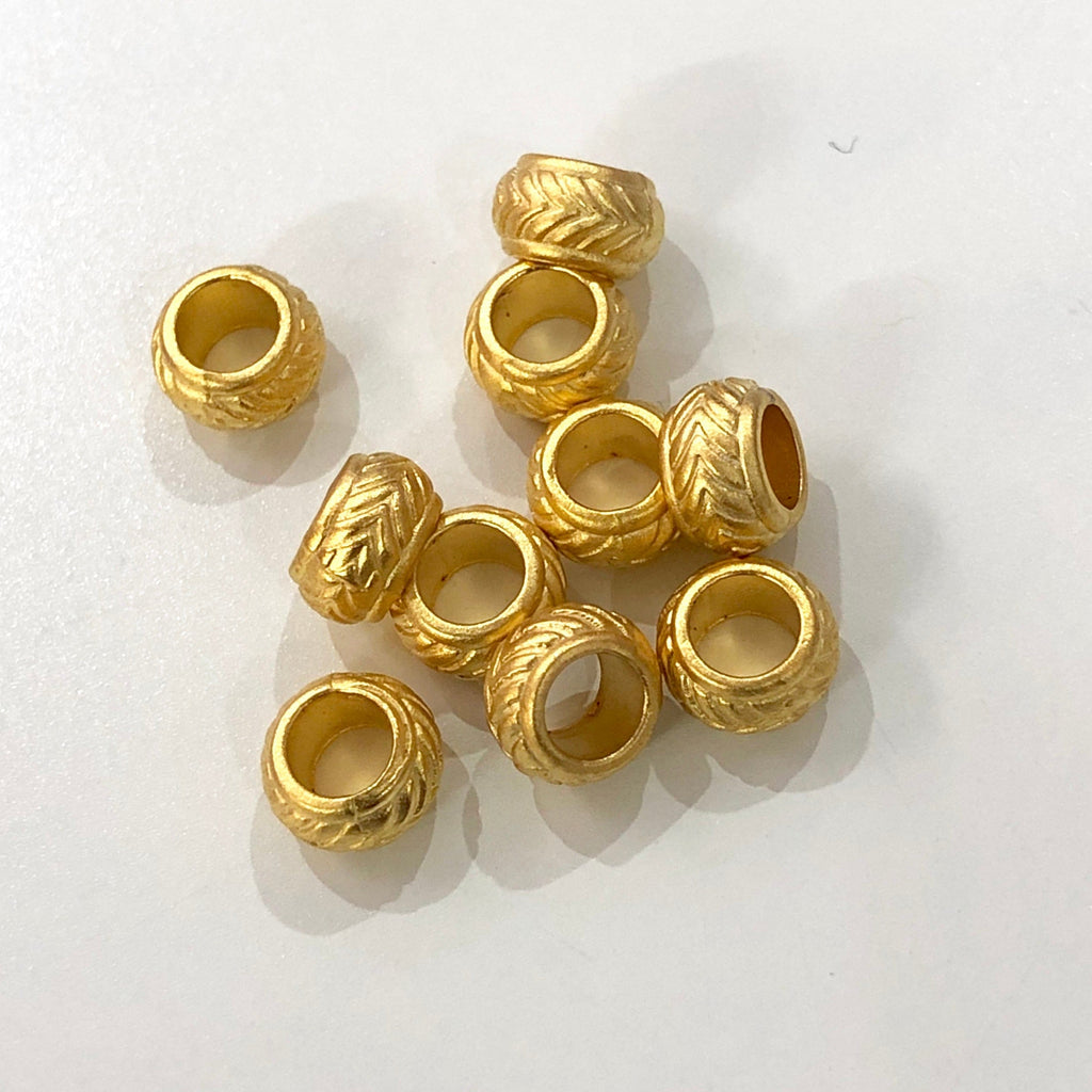Large Hole Gold Spacers, 22Kt Gold Plated Brass Large Hole Spacers, 10 pcs in a pack