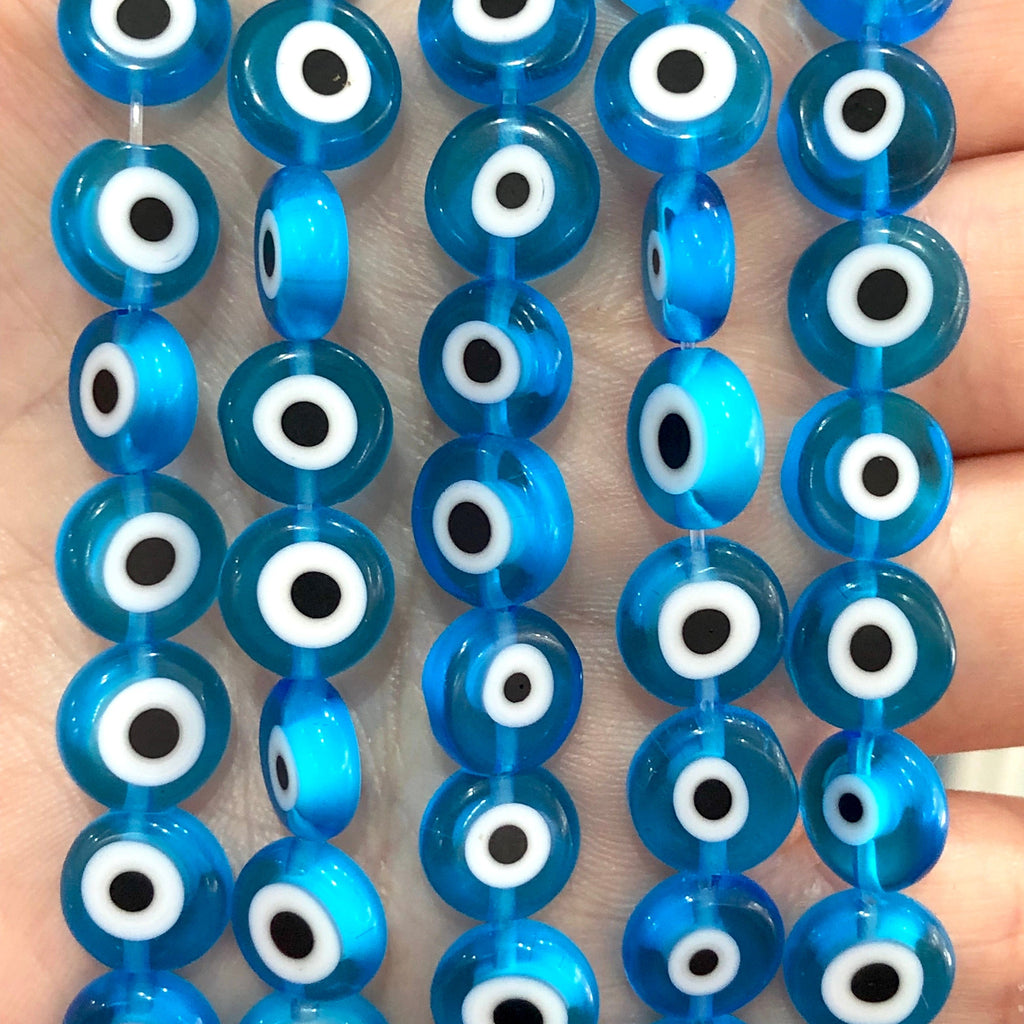 Evil Eye Beads, Strand of 38, Flat Round, 10mm Glass Beads, Lampwork Glass, Evil Eye Jewelry, Lampwork Beads, UK Beading Supply