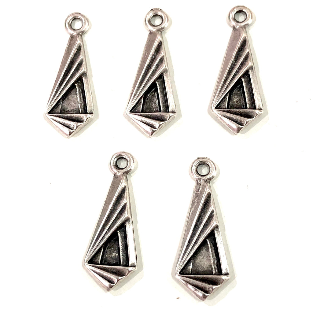 Antique Silver Plated Triangle Charms, Silver Plated Triangle Charms