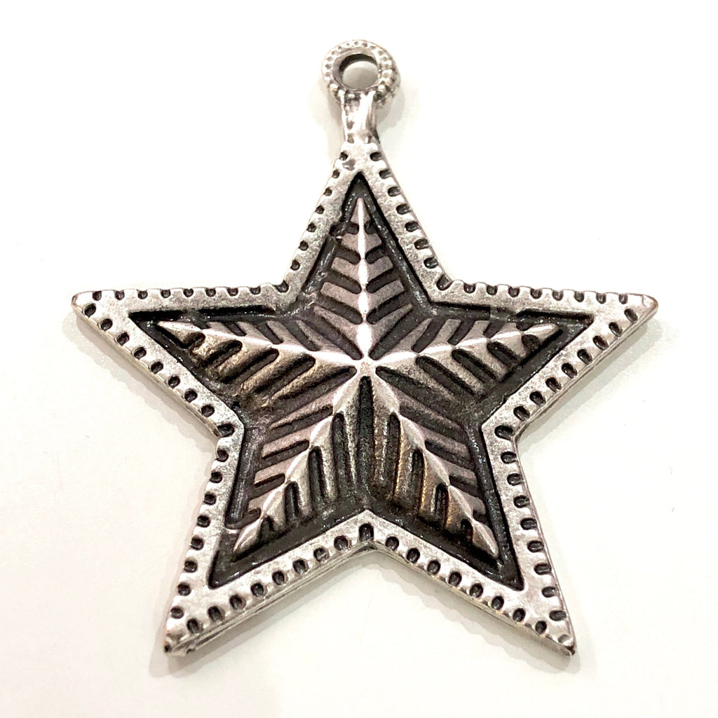 Silver Star Pendant 55mm, Silver Plated  Star Pendant