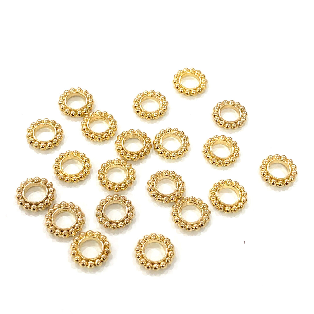 22Kt Gold Plated Wheel Spacers, 9,5mm Gold Plated Wheel Charms