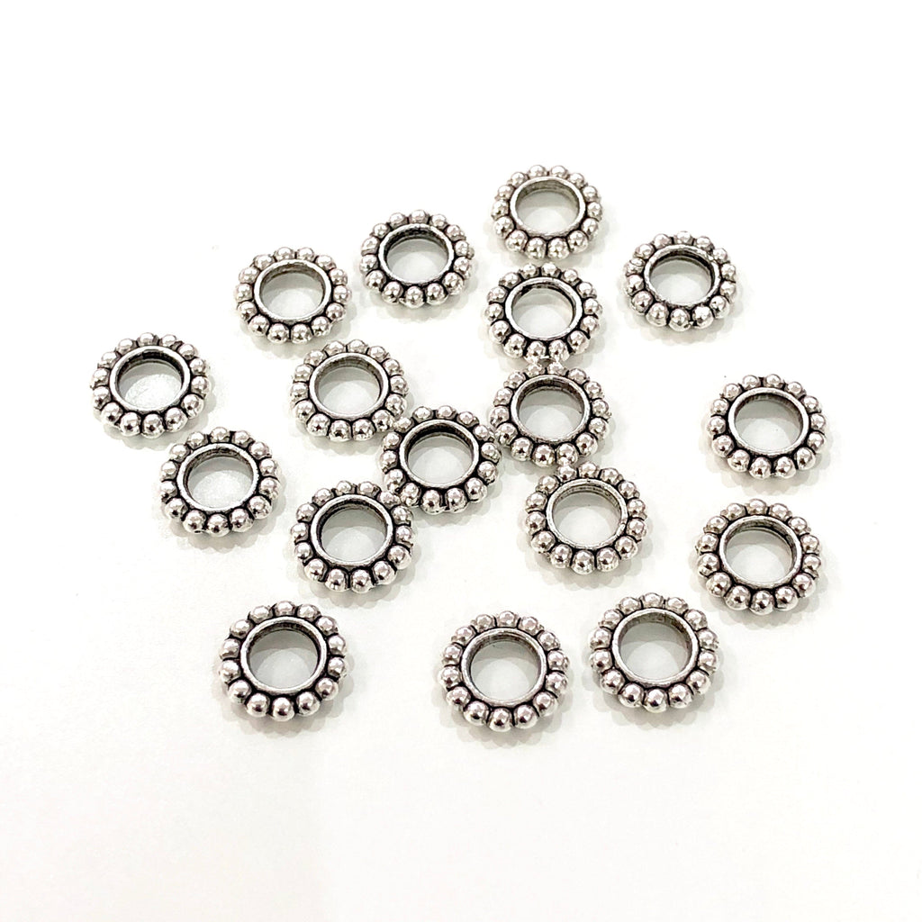 Silver Plated Wheel Spacers, 9,5mm Silver Plated Wheel Charms