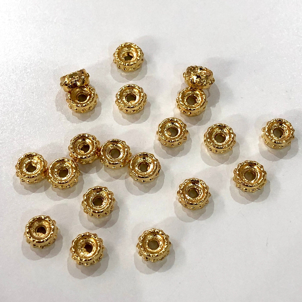 Gold Plated Spacer Wheel Charms,5mm Gold Plated Wheel Charms