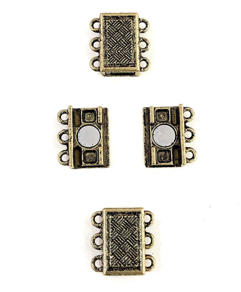 Multi Strand Magnetic Clasp Antique Gold Plated-3 Loop,