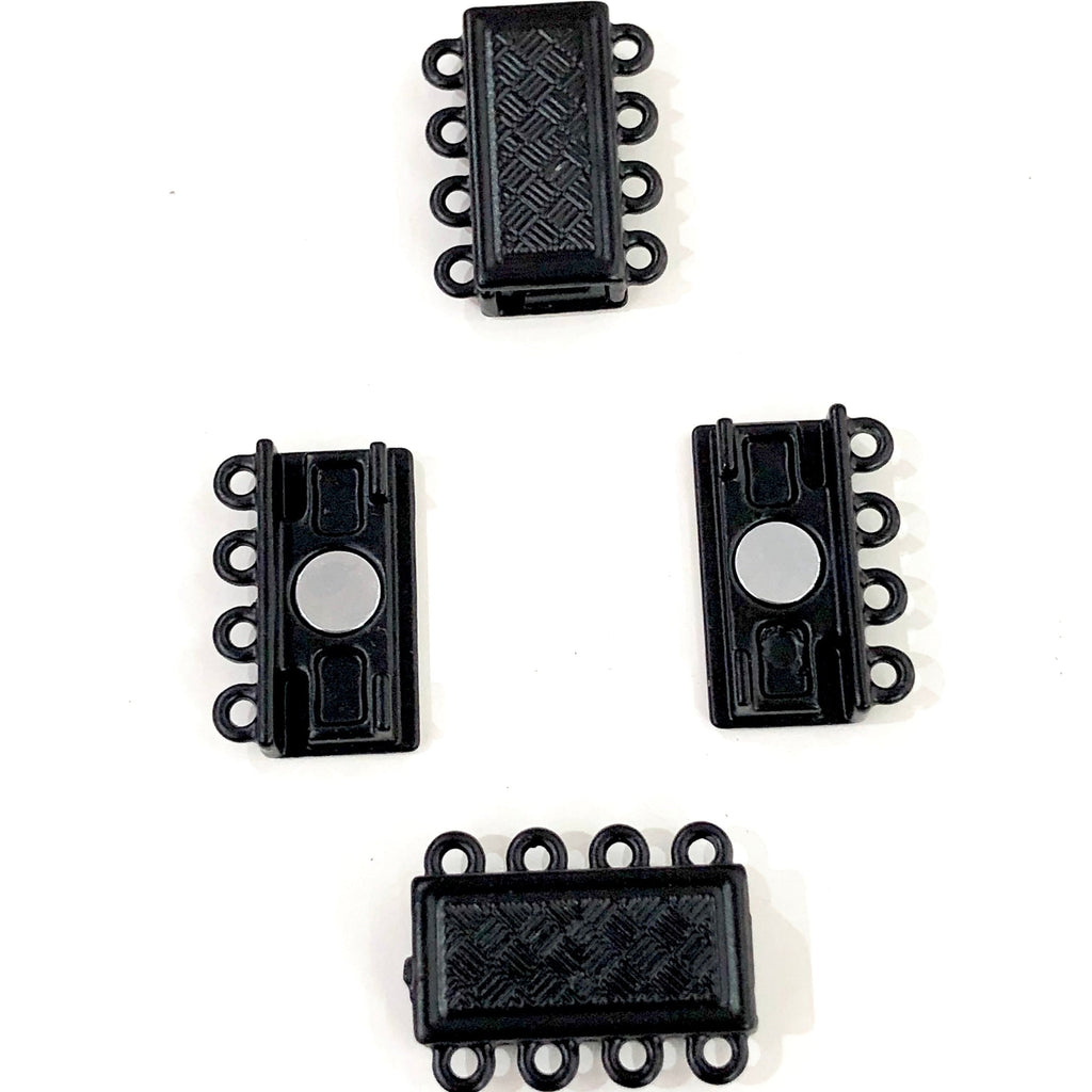 Multi Strand Magnetic Clasp Black Plated-4 Loop,
