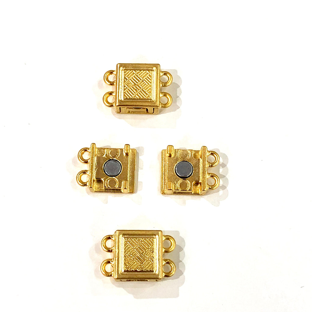 Multi Strand Magnetic Clasp 22Kt Gold Plated-2 Loop,