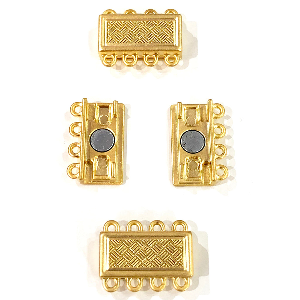 Multi Strand Magnetic Clasp 22Kt Gold Plated-4 Loop,