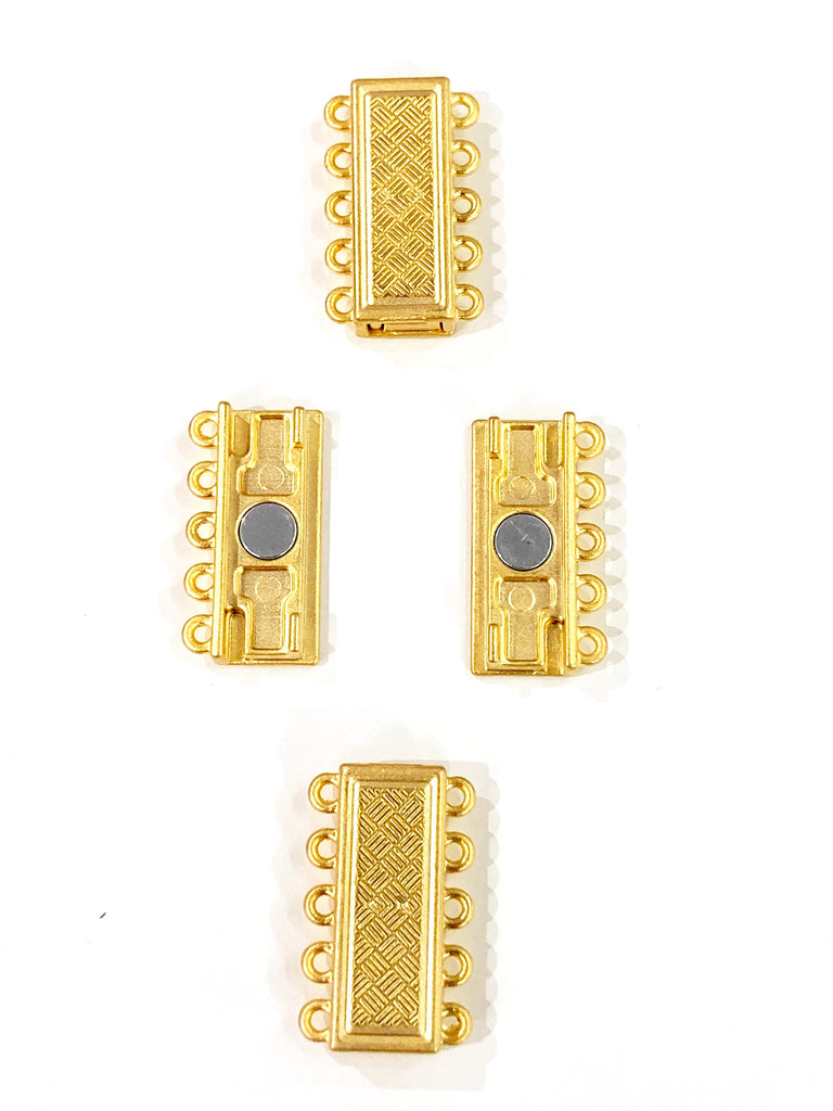 Multi Strand Magnetic Clasp 22Kt Gold Plated-5 Loop,