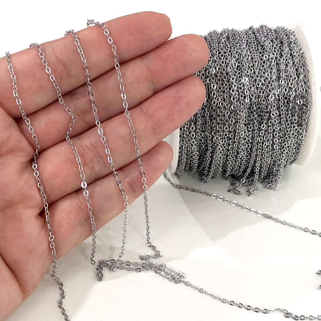 Silver Plated Cable Chain, Silver Plated Soldered Chain
