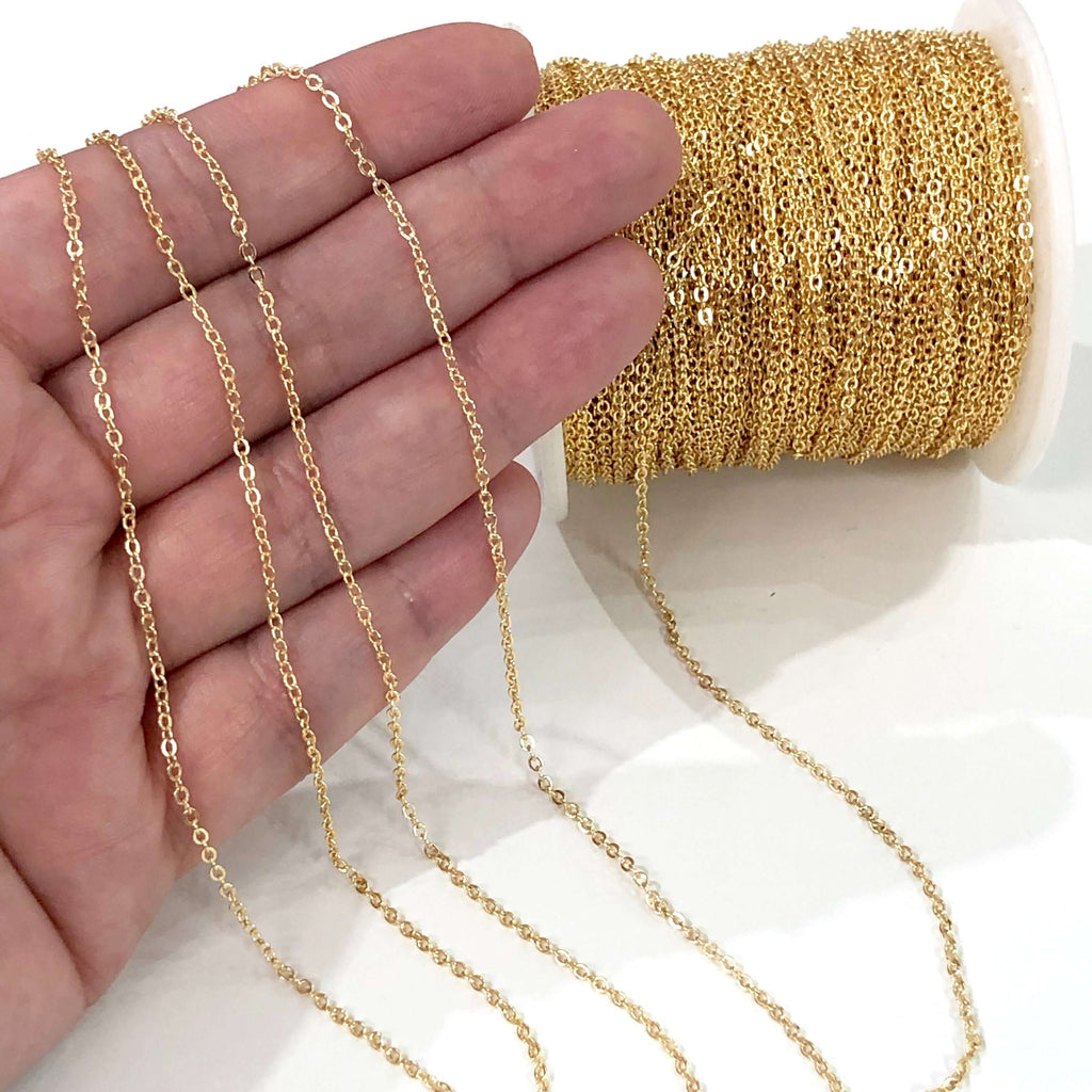 5 Metre Bulk Gold Plated Brass Cable Chain, Gold Plated Soldered Chain 2mm