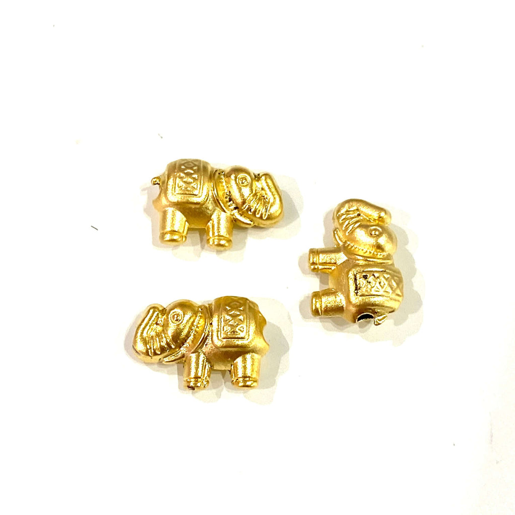 24Kt Matte Gold Plated Elephant Spacer Charms, Gold Elephant Charms, 3 Pcs in a Pack