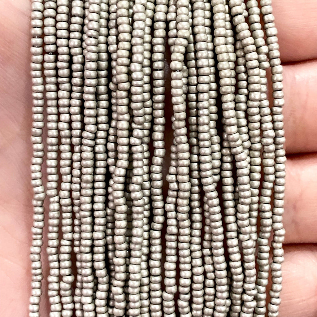 Preciosa  Coated Seed Beads 11/0 Rocailles-Round Hole,Beads,Seed Beads-18542M Matte Grey Metallic Dyed Crystal PRCS11/0-107,
