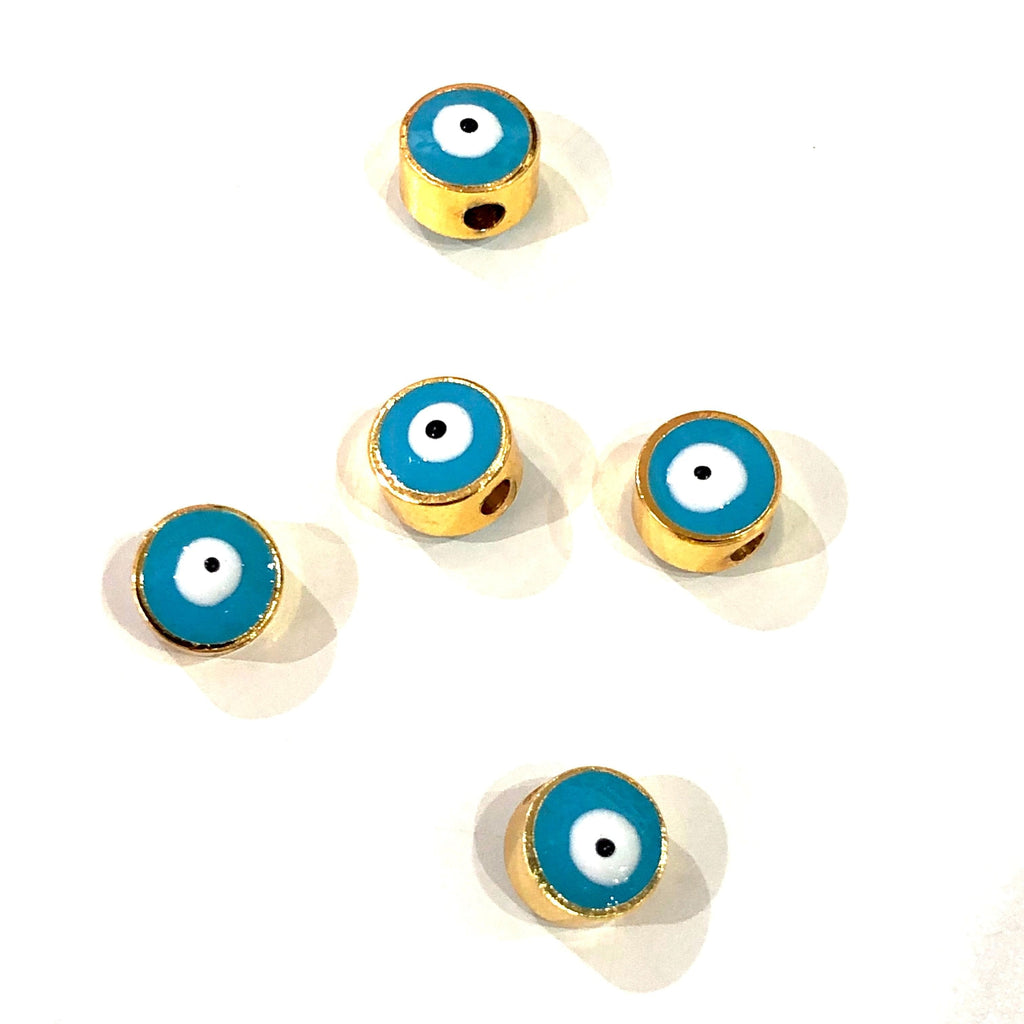 8mm 24K Gold Plated Evil Eye Beads, 8mm 24K Gold Plated Evil Eye Spacers, 5 Pcs in a Pack