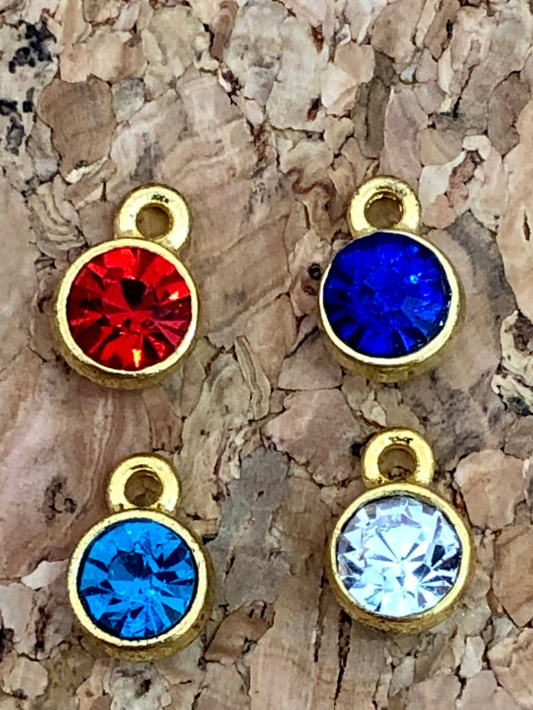 Cubic Zirconia Charms 10mm, Gold Plated Frames Made of Brass, 4 Colors