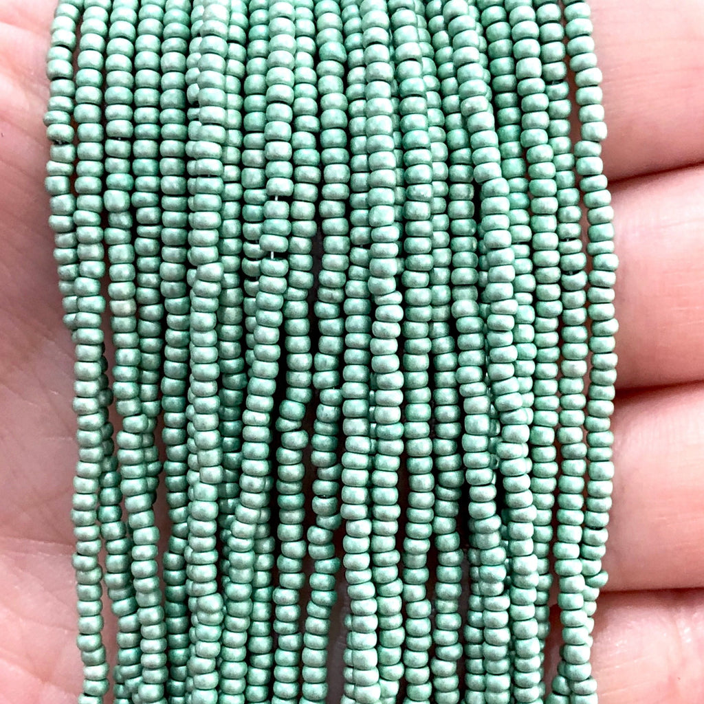 Preciosa  Coated Seed Beads 11/0 Rocailles-Round Hole,Beads,Seed Beads-18556M Matte Green Metallic Dyed Crystal  PRCS11/0-115,