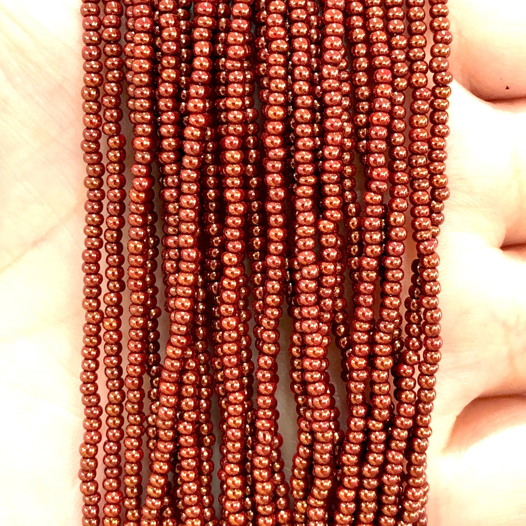 Preciosa  Coated Seed Beads 11/0 93199 Opaque Red Coral Rose Luster  PRCS11/0-149,