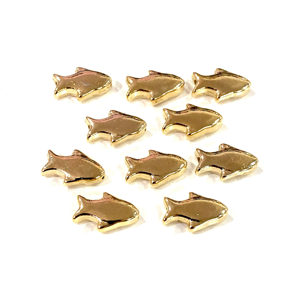 Gold Fish Charms, 22KT Gold Plated Fish Spacer Charms,