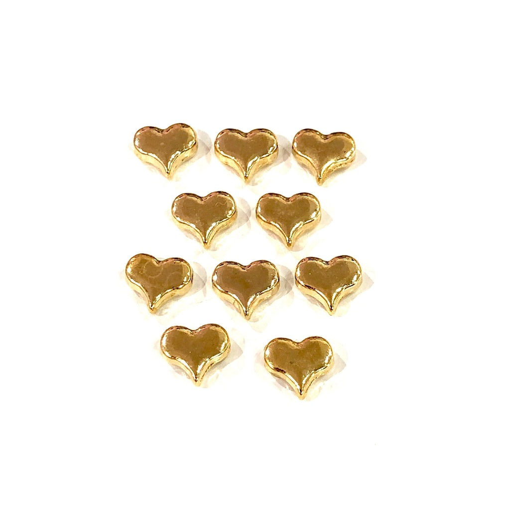 Gold Heart Charms, 22KT Gold Plated Heart Spacer Charms,