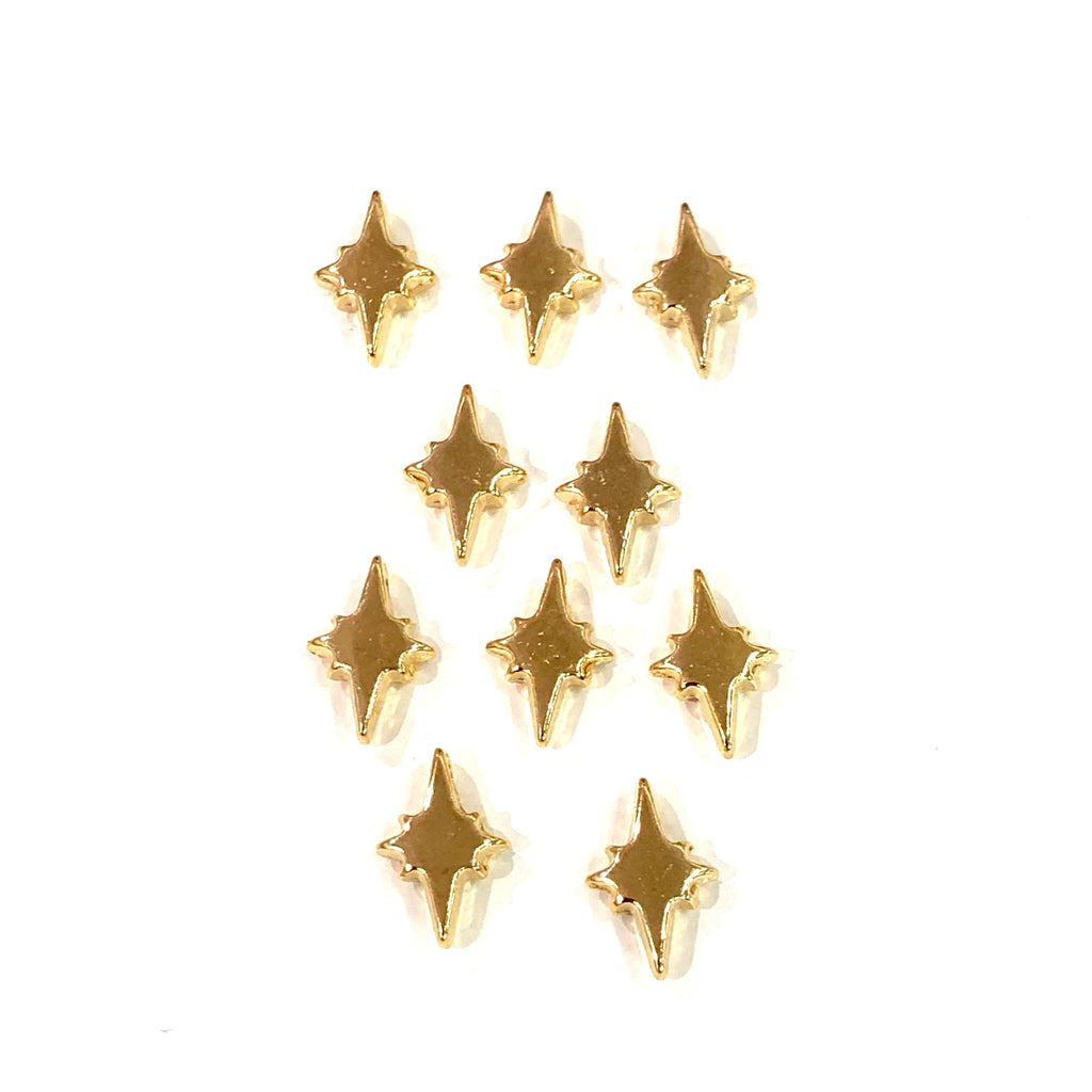 Gold North Star Charms, 22KT Gold Plated North Star Spacer Charms,
