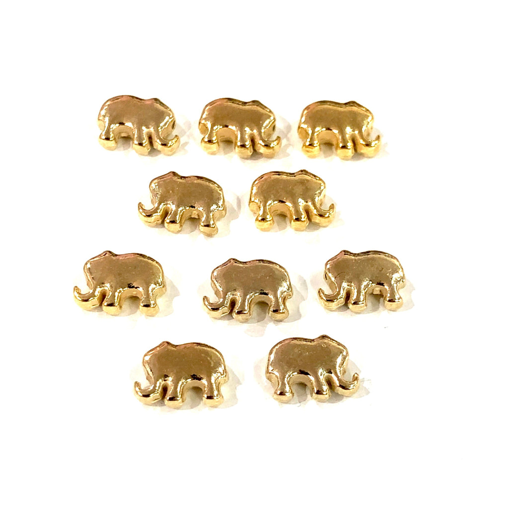 Gold Elephant Charms, 22KT Gold Plated Elephant Spacer Charms,