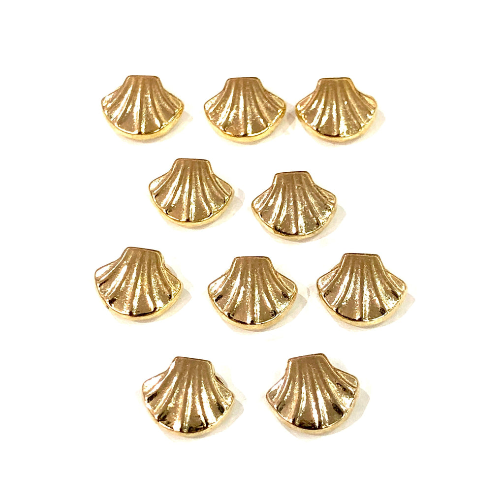 Gold Oyster Charms, 22KT Gold Plated Oyster Spacer Charms,