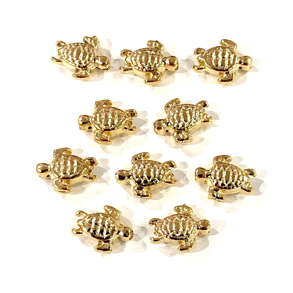 Gold Turtle Charms, 22KT Gold Plated Turtle Spacer Charms,