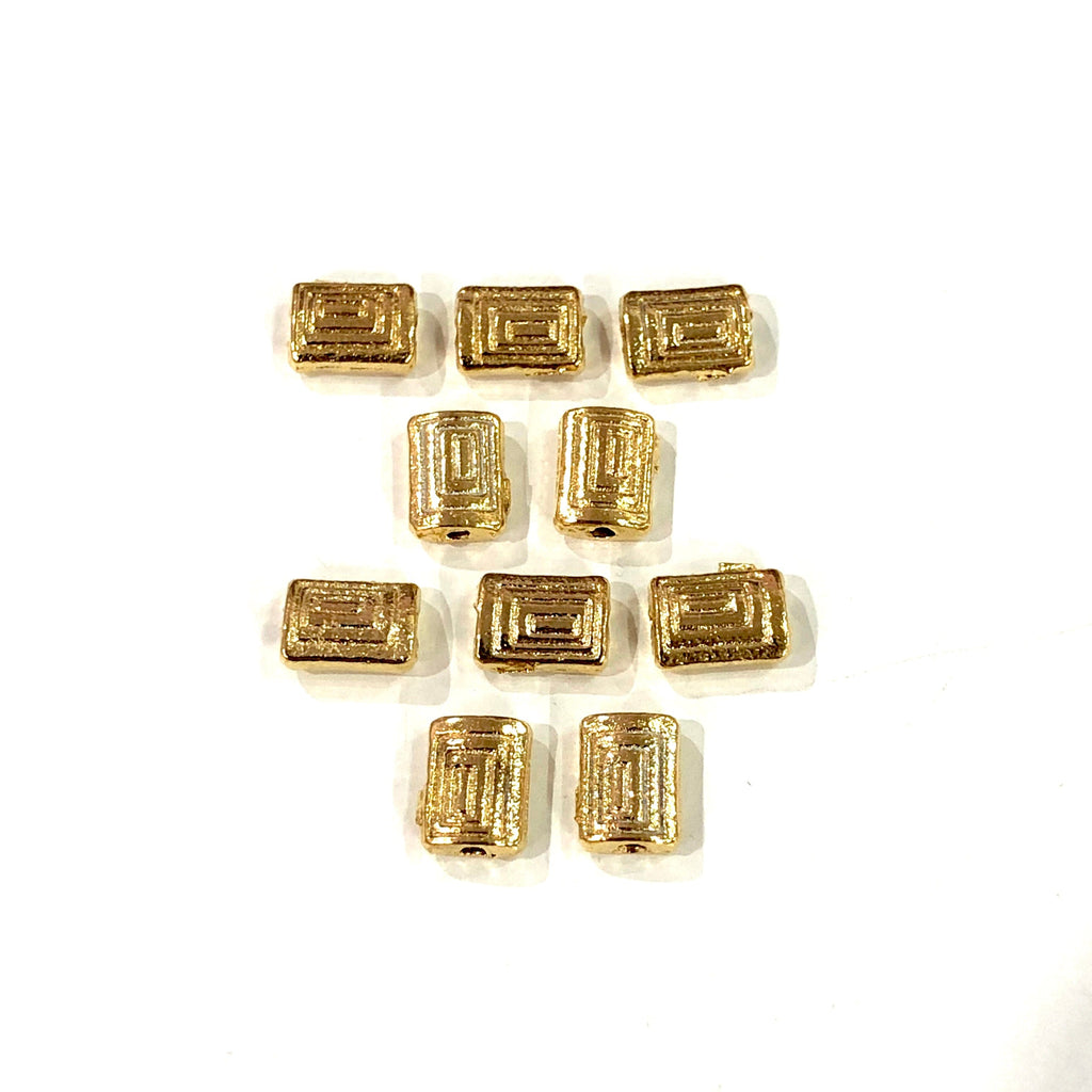 Gold Rectangular Charms, 22KT Gold Plated Rectangular Spacer Charms,