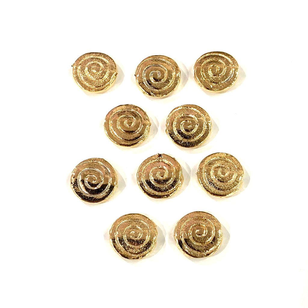 Gold Rondelle  Charms, 22KT Gold Plated Rondelle  Spacer Charms,