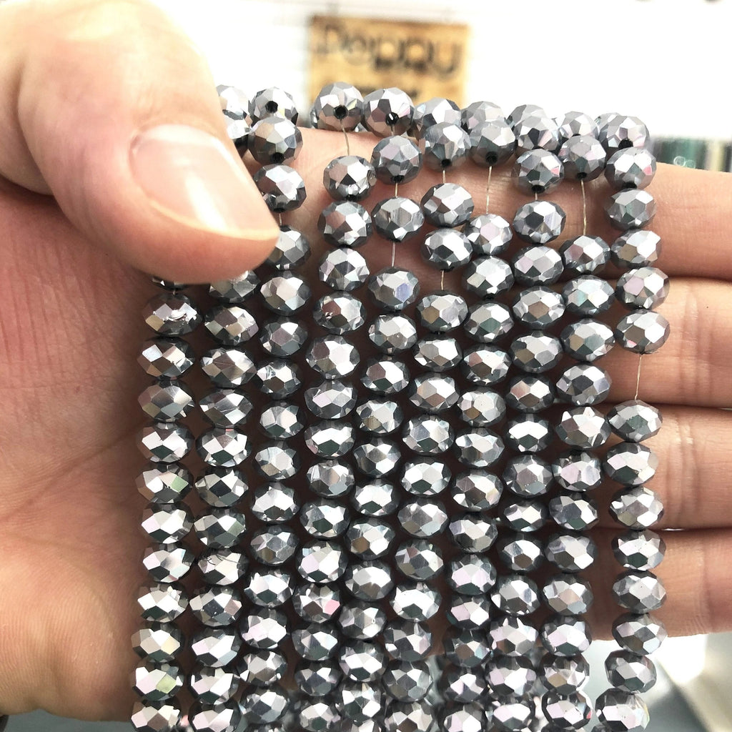 8mm Crystal faceted rondelle - 72 pcs - 8 mm - full strand - PBC8C76,