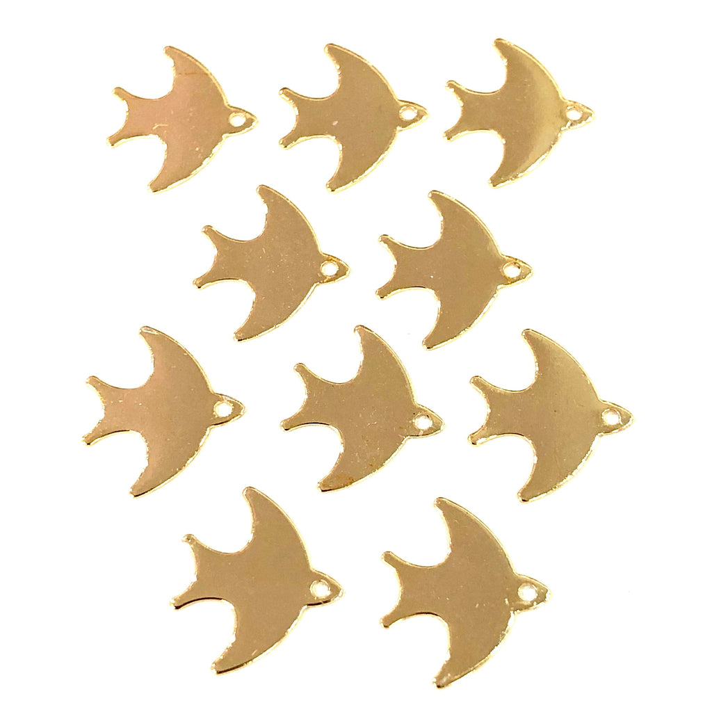 Gold Swallow Charms, Gold Plated Brass Swallow Pendants, Gold Lucky Charms