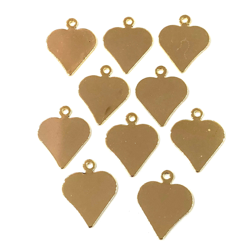 Gold Heart Charms, Gold Plated Brass Heart  Pendants, Gold Lucky Charms