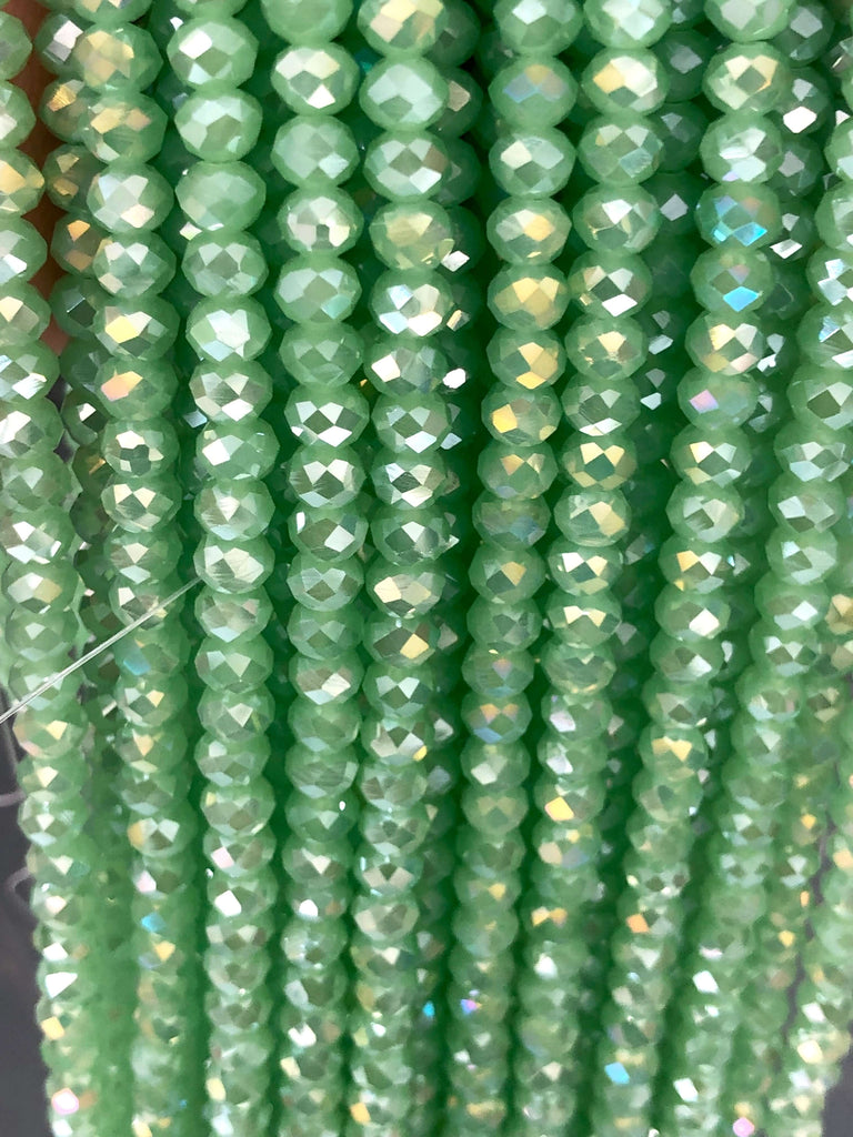 6mm Crystal faceted rondelle - 100 pcs -6 mm - full strand - PBC6C68, Crystal Beads, Beads, glass beads, beads ,crystal rondelle beads