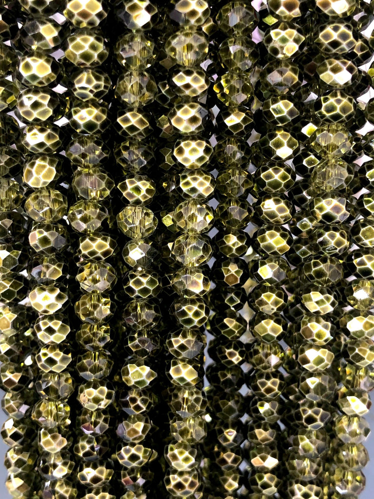 6mm Crystal faceted rondelle - 100 pcs -6 mm - full strand - PBC6C88, Crystal Beads, Beads, glass beads, beads ,crystal rondelle beads