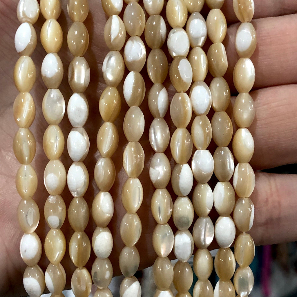 Mother of Pearl Beads, Natural Mother of Pearl Rice Beads